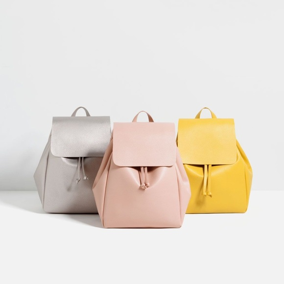 NWT Zara pink leather backpack with fold over flap